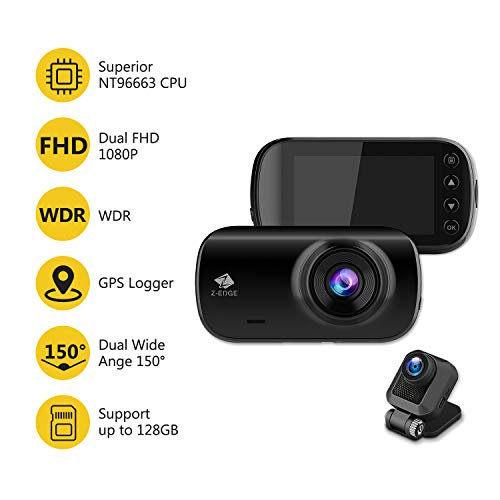 Z-Edge Z3D Dual Lens Dash Cam, 2.7'' Screen Ultra HD 1440P Front & 1080P Rear 150 Degree Wide Angle Front and Rear Dash Cam, Dashboard Camera with GPS, WDR, Low Light Vision, Parking Mode, G-Sensor by Z Z-Edge (Image #1)