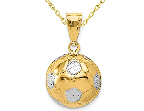 14K Yellow Gold Classic Soccer ball (Football) Charm Pendant Necklace with Chain ()