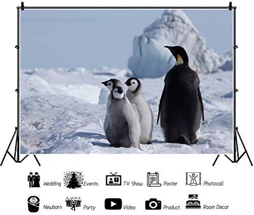 DASHAN 14x10ft Penguin Backdrop White Snow Glacier Photography Background Penguin Theme Baby Shower Backdrop Baby Children Birthday Party Wallpaper Kids Adults Portrait Photo Studio Props