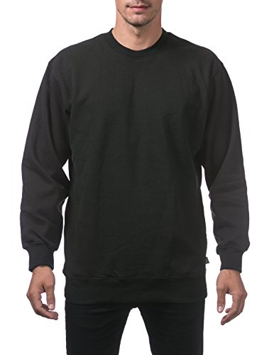 Pro Club Men's Heavyweight 13oz Crew Neck Fleece Pullover Sweatshirt, 3X-Large, Black - Heavyweight Fleece Crew Sweatshirt