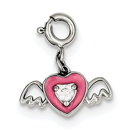 Pink Enameled CZ Heart With...