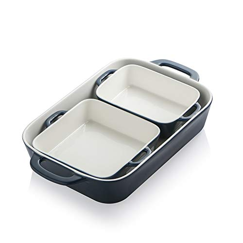 SWEEJAR Ceramic Bakeware Set, Rectangular Baking Dish for Cooking, Kitchen, Cake Dinner, Banquet and Daily Use, 12.8 x 8…