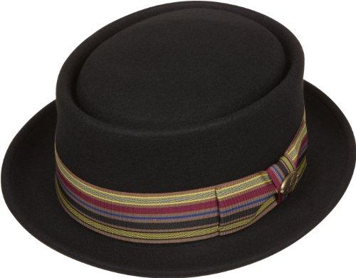 Sakkas 43EH Buster Patterned Band Wool Porkpie Hat - Black - M (Wool Band)