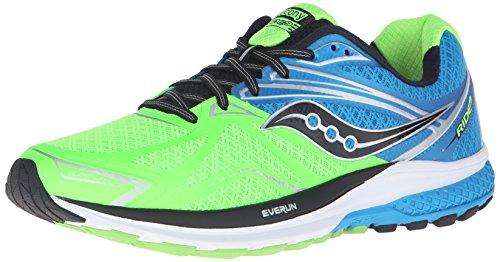 Saucony Men's Ride 9 Running Shoe, Slime/Blue/Blue, 10 M US