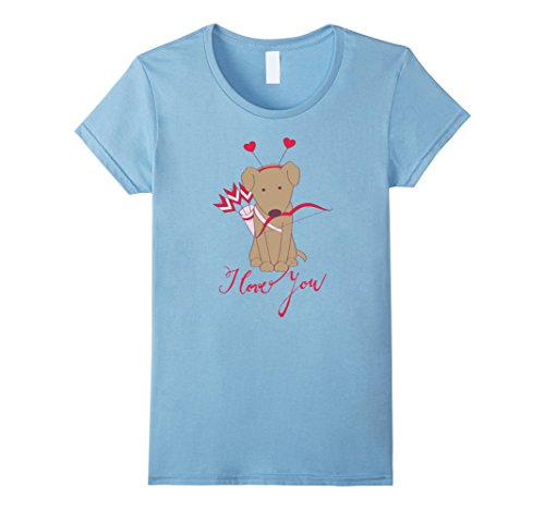 Women's Cupid Bow and Arrow Shirt - Cute Dog T-Shirt for Girls Large Baby Blue