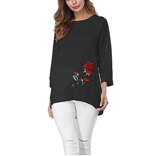 Toamen Ladies Simple Casual Tops, Women's Fashion Three Quarter Sleeve Rose Embroidery Loose Blouse T-Shirt, Newest Arrival Black