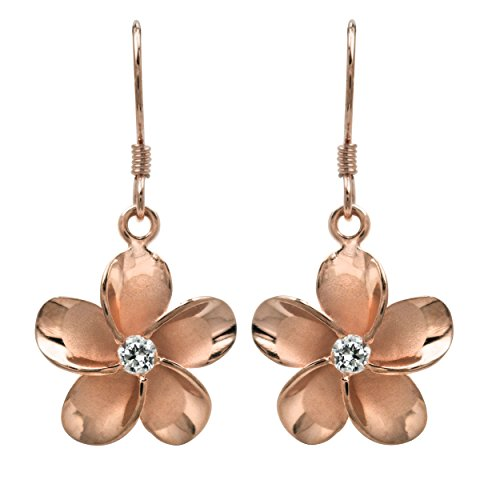 Plated Sterling Silver Plumeria Earrings