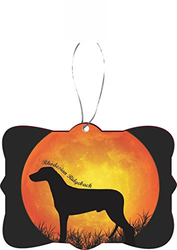 Rikki Knight RKWS-SQORN-41323 Christmas Tree Ornament/Car Rear View Mirror Hanger Rhodesian Ridgeback Dog Silhouette by Moon Design ()