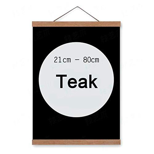 lieomo Magnetic Oak Wood Poster Frame Hanger - Artwork Print Holder Canvas Quilt Wooden Hanging(12in,Teak Color) -