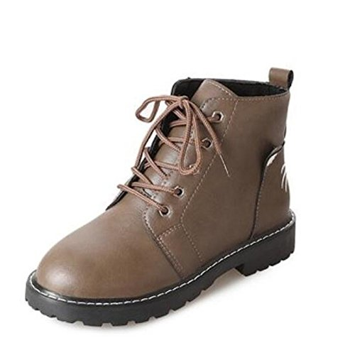 Comfort for Chunky Fall Winter Green Shoes Toe Heel Ankle Booties Boots Round Army Green Brown Army HSXZ ZHZNVX Black PU Women's Casual Boots qYZZ8w