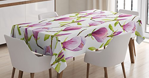 Ambesonne Purple Decor Tablecloth, Blooming Magnolias Summer Season Soft Pastel Color Country Flowers Home Decorations, Rectangular Table Cover for Dining Room Kitchen, 52x70 Inches, Green Lilac