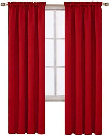 Deconovo Red Blackout Curtains Rod Pocket Drapes Window Curtains for Bedroom True Red 42W x 84L Inch 2 Panels 1