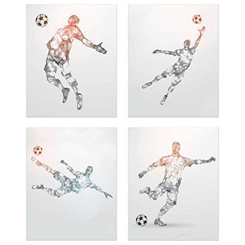 - Summit Designs Soccer Geometric Wall Art Prints - Particle Silhouette – Set of 4 (8x10) Poster Photos - Man Cave- Bedroom Decor