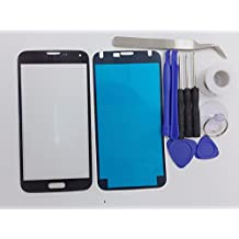 White Black Replacement Front Outer Lens Glass Screen For Galaxy S5 SV G9009D G9008V G9006V G900 G900A G900P G900T G900V with Tools Kit and Adhesive Tape (No Logo Black)