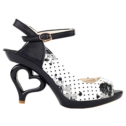 Black Polka Flower (SHOW STORY Black White Flower D'Orsay Spot Polka Dots Dancing Women Bride Wedding Sandals,LF60809WT41,9US,Black White Flower)