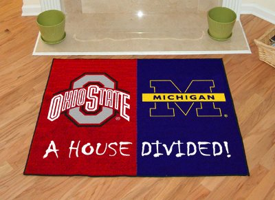 Fanmats House Divided Floor Mat w Official Team Logos - Ohio State & Michigan by Fanmats