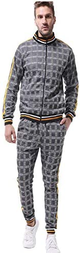 Men`s Casual Tracksuit Set Long Sleeve Running Jogging Suit Athletic Full Zip Sweatsuit