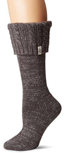 (UGG Women's Sparkle Tall Rainboot Sock, charcoal/silver)