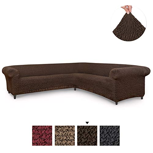 Sectional Sofa Cover - Corner Couch Cover - Corner Slipcover - Cotton Fabric Slipcovers - 1-piece Form Fit Stretch Furniture Slipcover - Mille Righe Collection - Brown (Corner Sofa)