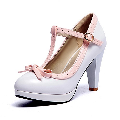 BalaMasa donna metallo Bowknot colori assortiti in vernice pumps-shoes, Bianco (White), 35
