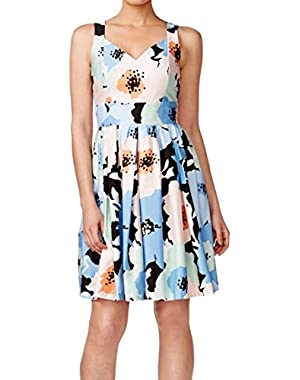 Womens Petites Floral Print Pleated Casual Dress