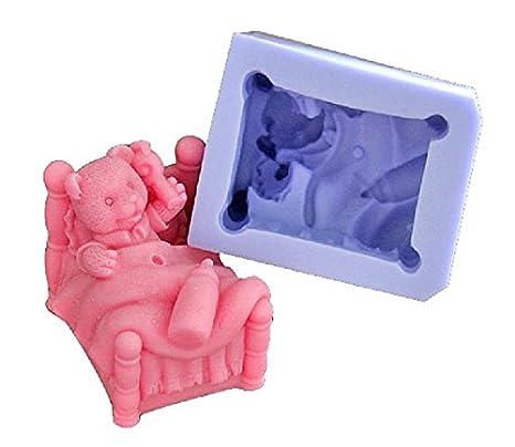 Oso de peluche en la cama 3D molde de silicona para repostería, chocolate, jabón y velas: Amazon.es: Hogar