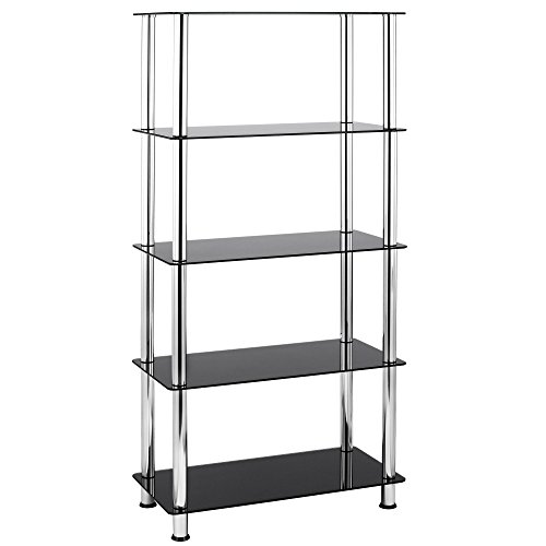 VonHaus 5 Tier Black Glass Shelving Unit with Sturdy Chrome Tube Legs & Tempered Glass (Shelving For Glasses compare prices)