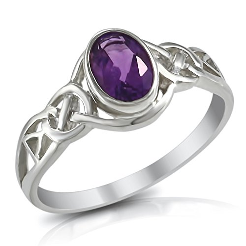 Sterling Silver 1.0 Ct Genuine Purple Amethyst Gemstone Celtic Love Knot Band Ring - Size 10