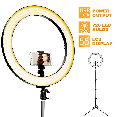 LED Ring Light with Stand - 18 inch 720 LED Bulbs LED Video Lighting, Dual Dimmer Selfie Light with Stand, LED Light Ring Studio YouTube Light with Mount for Camera Phone Camcorder