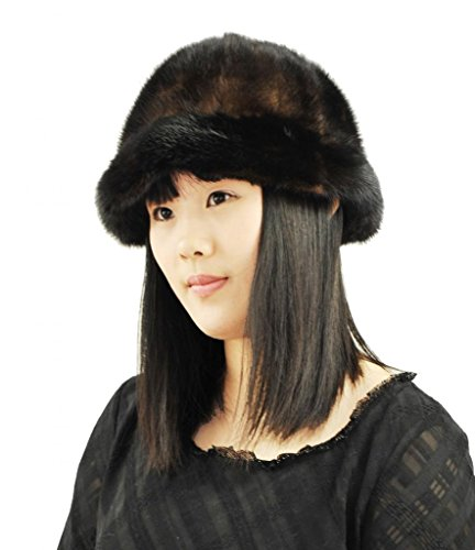 Fashion Women Patchwork Real Mink Fur Cap,Brown by CX FUR