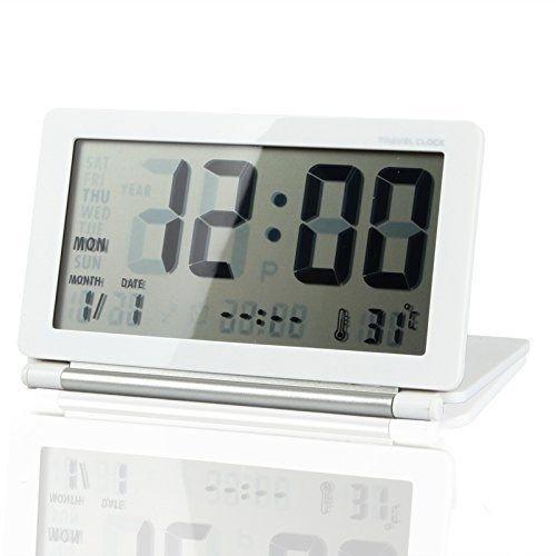 KLAREN Mini Foldable Travel Alarm Clock with Temperature & Date & Week & Repeating Snooze Silent LCD Digital Screen Alarm Clock (White+Silver)