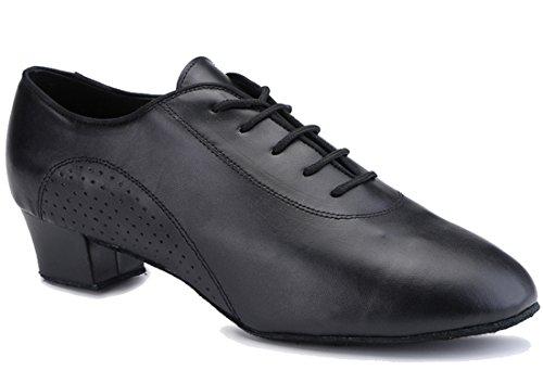 TDA Mens A3003 Round Toe Black Leather Modern Salsa Tango Ballroom Latin Wedding Party Dance Shoes 12.5 M US by TDA