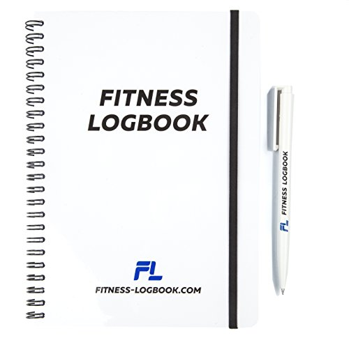 Fitness Logbook BIG: Undated Workout Journal - 6 x 8 inches - 75 Workouts - w/ Pen, Thick Paper, Durable Cover, Round Corners, Wire-bound - Stylish And Easy-To-Use Gym Log Book