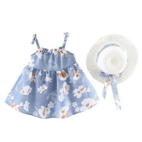 Yaseking Infant Baby Girls Sleeveless/Short Sleeve Flower Floral Print Princess Dress+Hat Cap Outfits(80,Blue)
