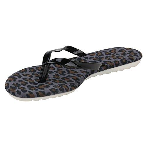 Damen Sandalen Strass Zehentrenner Blumen Schleifen Ethno Metallic Schuhe Flats Sommerschuhe Beach Schuhe Lack Übergrößen Flandell Schwarz Leopard