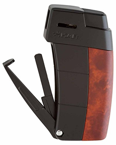 Resource Cigar and Pipe Lighter in an Attractive Gift Box Warranty Burl with Black Trim
