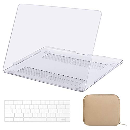 MOSISO MacBook Pro 15 inch Case 2019 2018 2017 2016 Release A1990 A1707, Plastic Hard Case& Keyboard Cover& Water Repellent Neoprene Storage Bag Compatible with MacBook Pro 15 Touch Bar, Crystal Clear