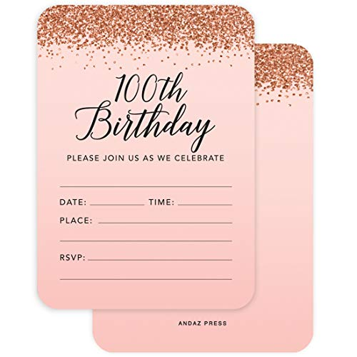 Andaz Press Blush Pink and Rose Gold Glitter Elegant Party Collection, 5x7-inch Invitations with Envelopes, 100th Birthday, 24-Pack, Double Sided Printing, Heavy Card Stock, Includes Envelopes