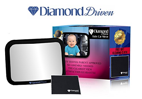 Baby Car Mirror for Back Seat  View Infant in Rear Facing Car Seat 100% Lifetime Satisfaction Guarantee  Largest and Most Stable Mirror  Safe Secure Shatterproof Extra Large Size By Diamond Driven
