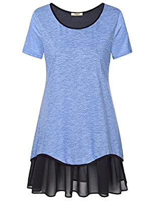 Timeson Women's Short Sleeve Pleated Chiffon Hem Loose T-Shirt Tunic Dress