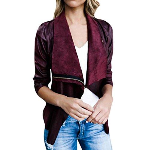 Double Breasted Velvet Costumes (Women Coat Hot Sale New Fashion Tassel Autumn Winter Warm Long Sleeve Zipper Windbreaker Short Outwear Open Front Jacket by Neartime (XL, Red))