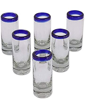 47f4e67f2aa6 NOVICA Artisan Crafted Hand Blown Clear Blue Rim Recycled Glass Shot Glasses