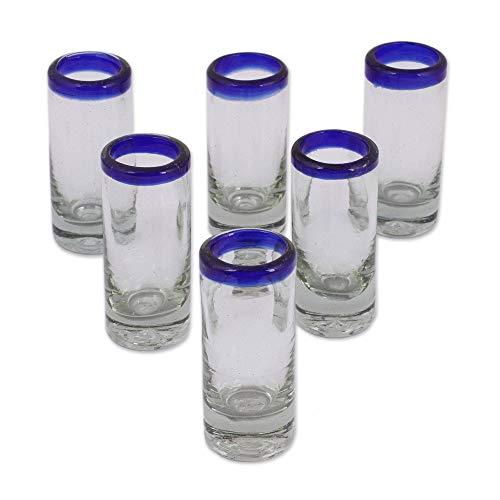 NOVICA 14337 Blues Tequila Glass, Set of 6, 3.7 H x 1.6 Diam