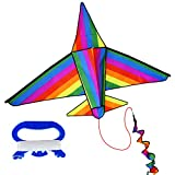 Kids Kite Easy Flyer Airplane Kite, Huge 3D Kites 60 inch Wide with Long Tail, High Flyer Kite Toys for Boys and Girls