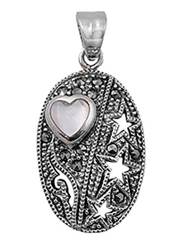 - Star Heart Pendant Mother of Pearl Marcasite .925 Sterling Silver Cutout Charm Vintage Crafting Pendant Jewelry Making Supplies - DIY for Necklace Bracelet Accessories by CharmingSS