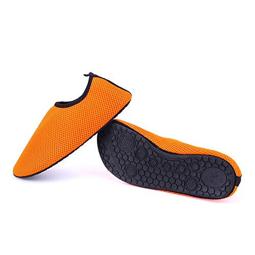 RUNGAO Net Shoes Light Soft Women Beach Shoes Outdoor Swimming Water Shoes Unisex Soft Seaside Wading Shoes Orange & 38-39 Orange & 38-39 AEWu0svOn