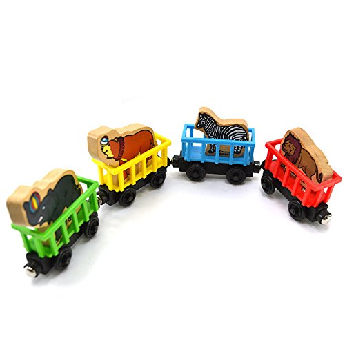 Hisoul Hot  Wooden Train Toy - 4 Brightly Colored Wooden Blocks Personalised Animal Wooden Train Educational Toys for Kids Baby Toddlers Children New Year Toy - Animal Personalised