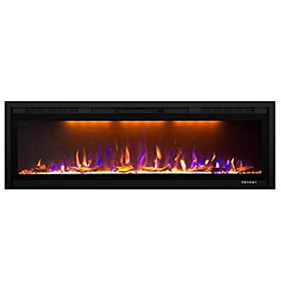 Valuxhome 50 Inches Electric Fireplace Slim, Wall Mounted and Insert Fireplace Heater with Timer, Remote Control, 1500W, Log & Crystal, Changeable Flame, Black