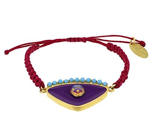 Aikaterini psoma Violet Plaqué Or 925Argent Evil Eye Bracelet en macramé de 14-29cm
