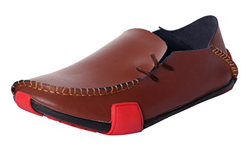 MEWOOCUE Men's Brown Moccasins Leather Loafers Casual Penny Driving Boat Shoes Slip On Loafer - Size (Studded Leather Moccasins)